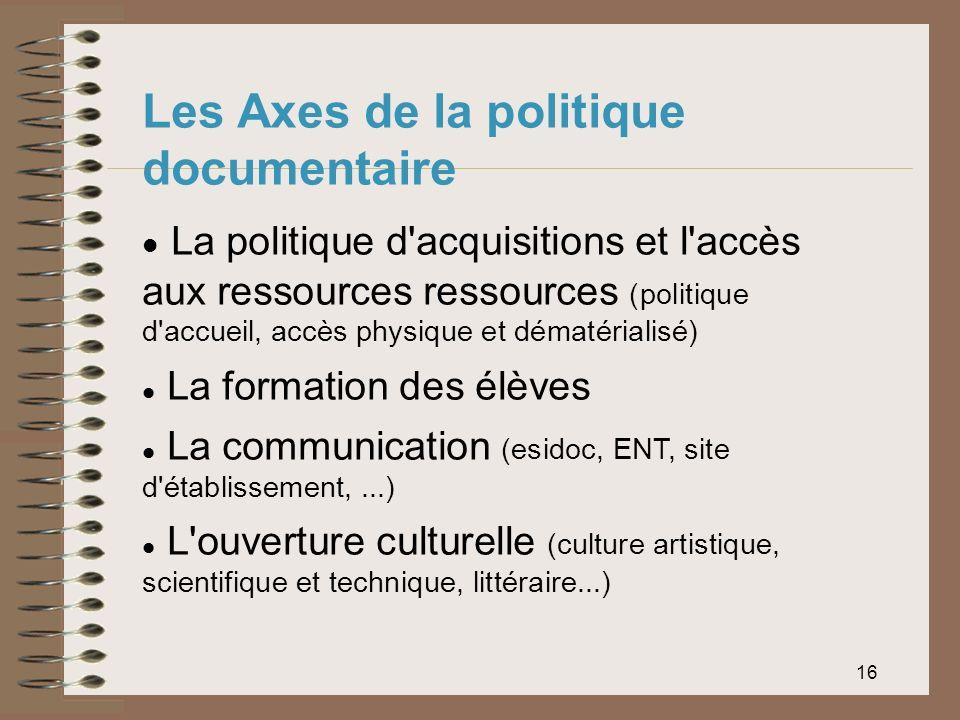 16 Les Axes de la politique documentaire La politique d'acquisitions et l'accès aux ressources ressources (politique d'accueil, accès physique et déma