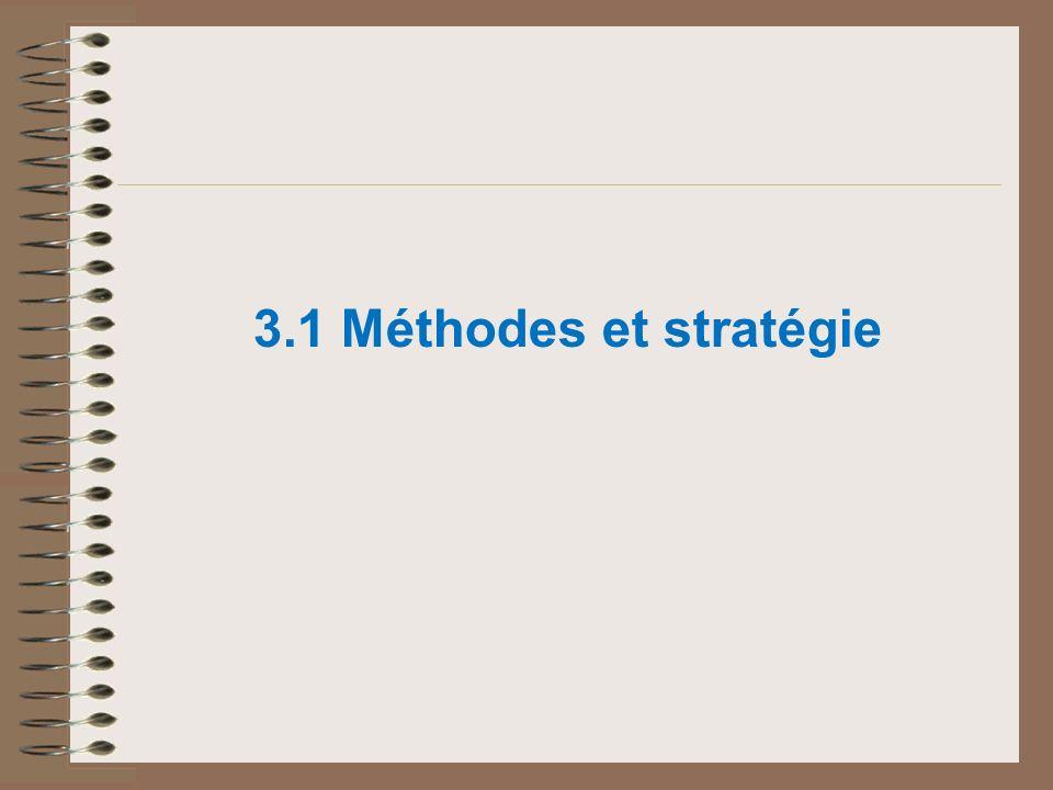 3.1 Méthodes et stratégie