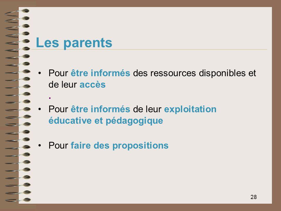28 Les parents Pour être informés des ressources disponibles et de leur accès. Pour être informés de leur exploitation éducative et pédagogique Pour f