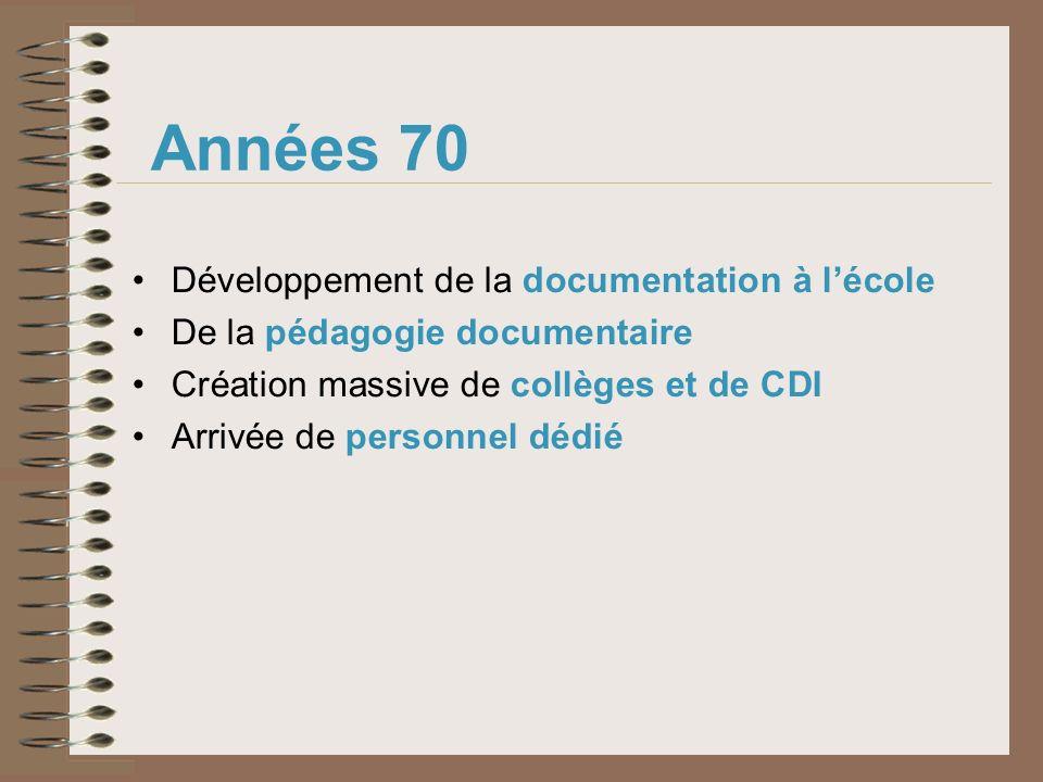 Années 70 Développement de la documentation à lécole De la pédagogie documentaire Création massive de collèges et de CDI Arrivée de personnel dédié