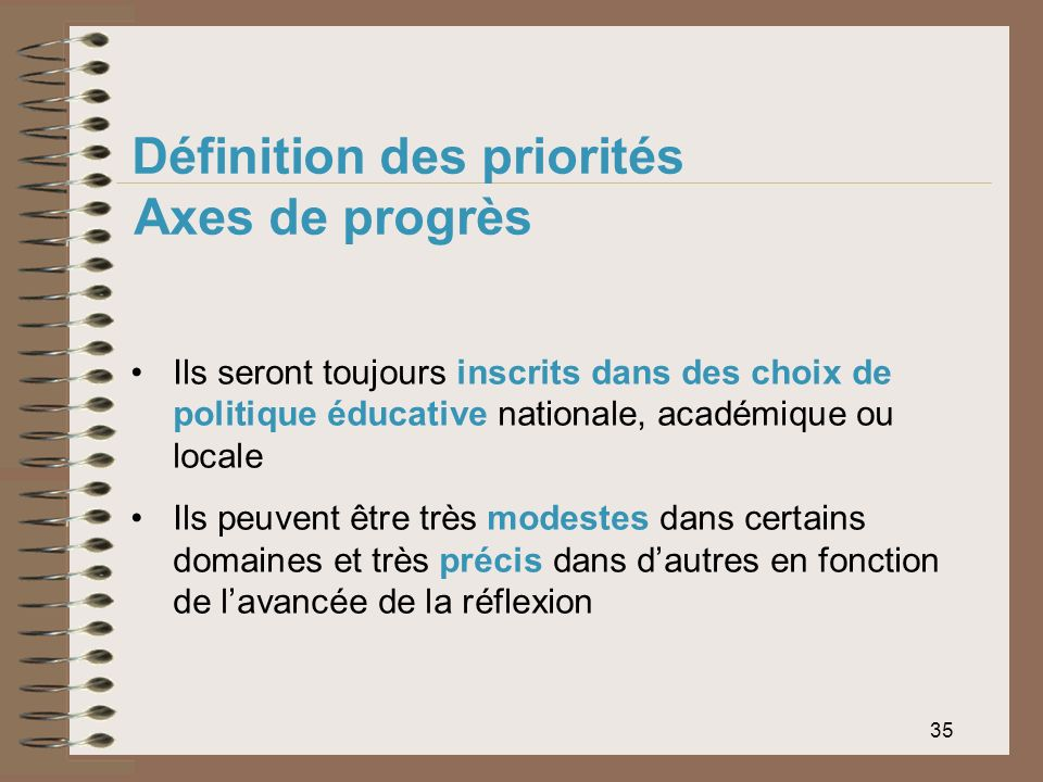 35 Définition des priorités Axes de progrès Ils seront toujours inscrits dans des choix de politique éducative nationale, académique ou locale Ils peu