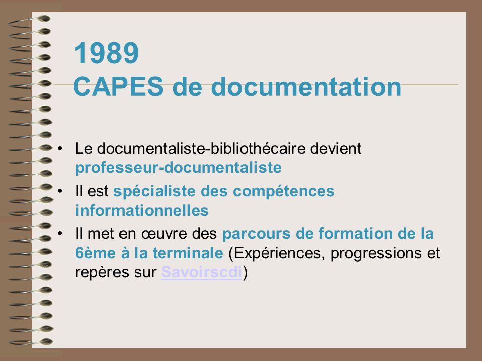 1989 CAPES de documentation Le documentaliste-bibliothécaire devient professeur-documentaliste Il est spécialiste des compétences informationnelles Il
