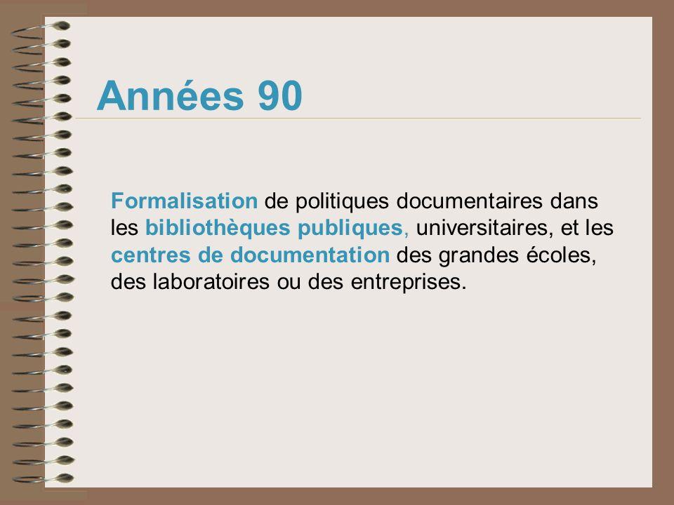 Années 90 Formalisation de politiques documentaires dans les bibliothèques publiques, universitaires, et les centres de documentation des grandes écol