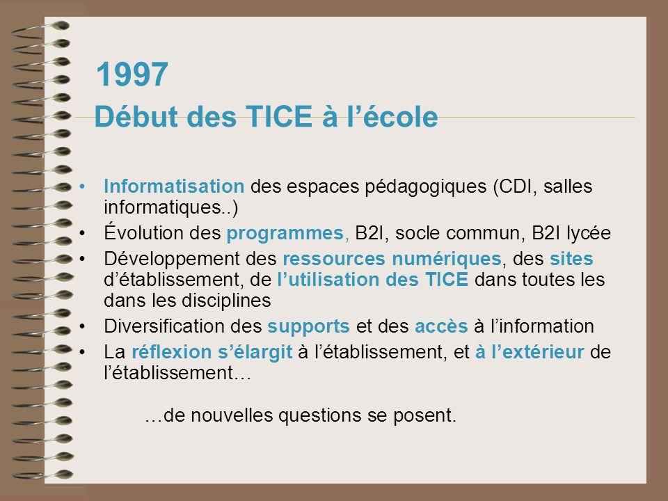 1997 Début des TICE à lécole Informatisation des espaces pédagogiques (CDI, salles informatiques..) Évolution des programmes, B2I, socle commun, B2I l