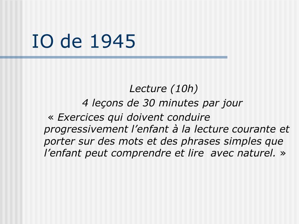 IO de 1945 Lecture (10h) 4 leçons de 30 minutes par jour « Exercices qui doivent conduire progressivement lenfant à la lecture courante et porter sur