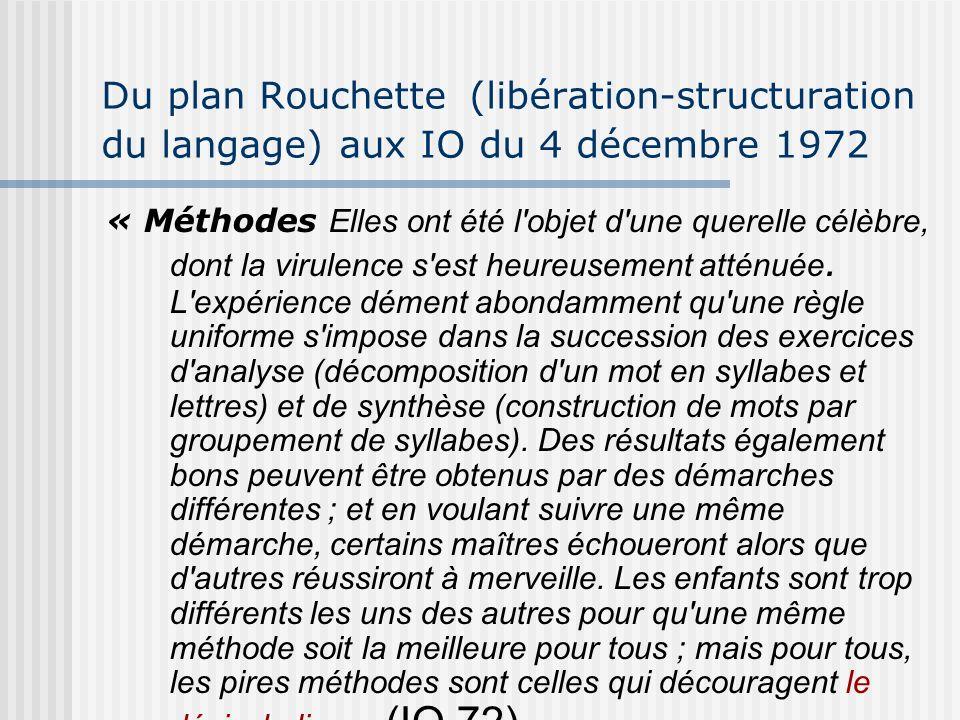 Du plan Rouchette (libération-structuration du langage) aux IO du 4 décembre 1972 « Méthodes Elles ont été l'objet d'une querelle célèbre, dont la vir