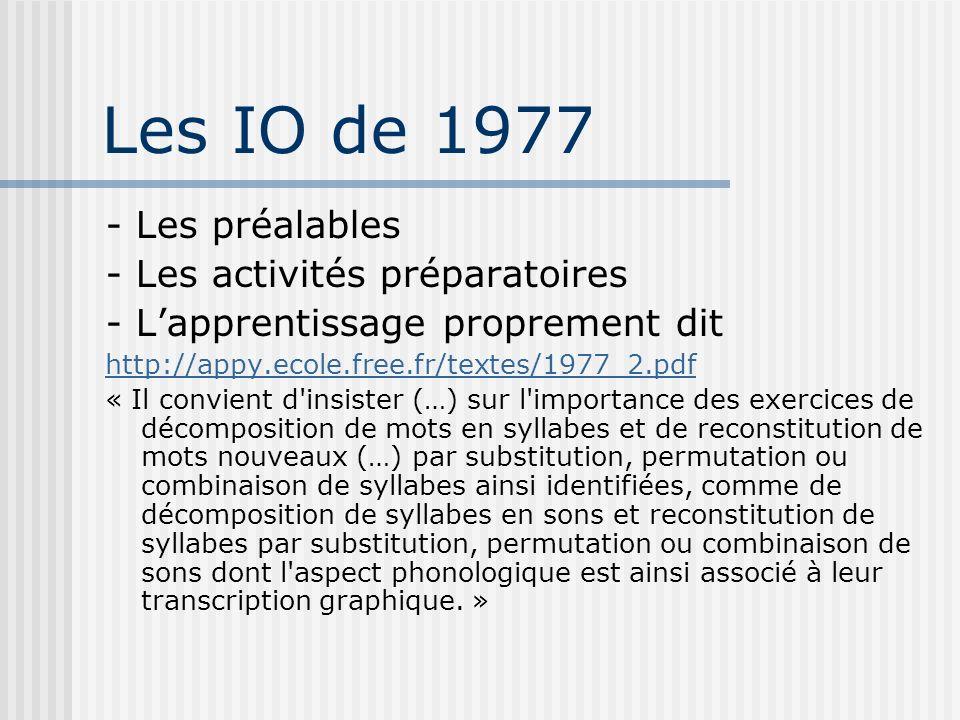 Les IO de 1977 - Les préalables - Les activités préparatoires - Lapprentissage proprement dit http://appy.ecole.free.fr/textes/1977_2.pdf « Il convien