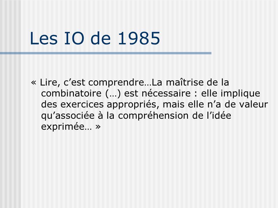 Les IO de 1985 « Lire, cest comprendre…La maîtrise de la combinatoire (…) est nécessaire : elle implique des exercices appropriés, mais elle na de val