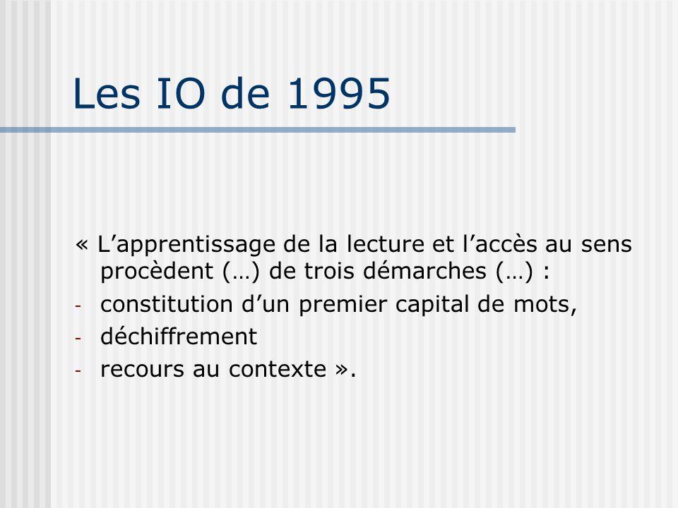 Les IO de 1995 « Lapprentissage de la lecture et laccès au sens procèdent (…) de trois démarches (…) : - constitution dun premier capital de mots, - d