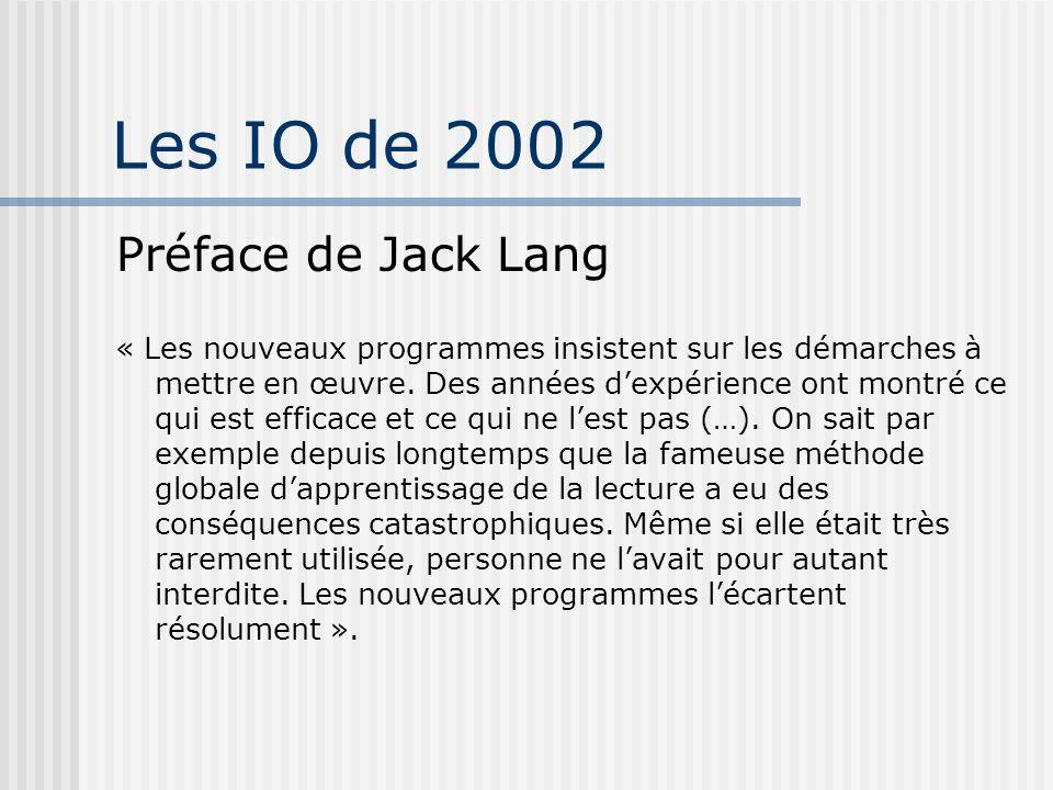 Les IO de 2002 Préface de Jack Lang « Les nouveaux programmes insistent sur les démarches à mettre en œuvre. Des années dexpérience ont montré ce qui