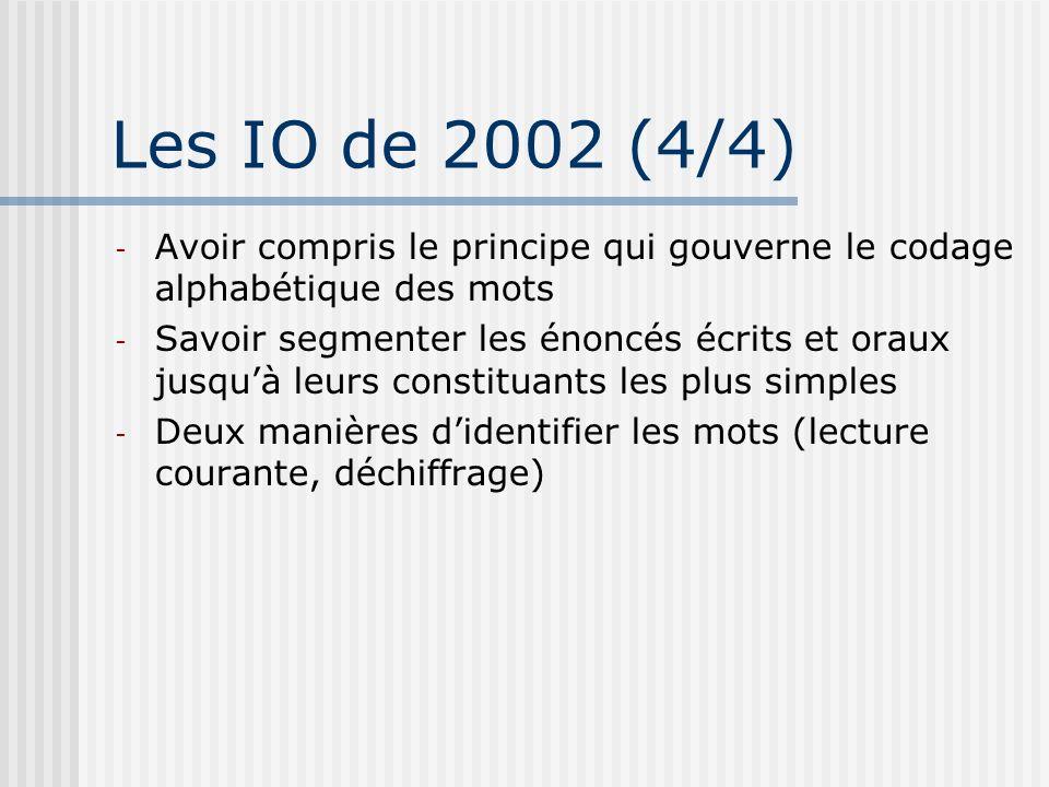 Les IO de 2002 (4/4) - Avoir compris le principe qui gouverne le codage alphabétique des mots - Savoir segmenter les énoncés écrits et oraux jusquà le