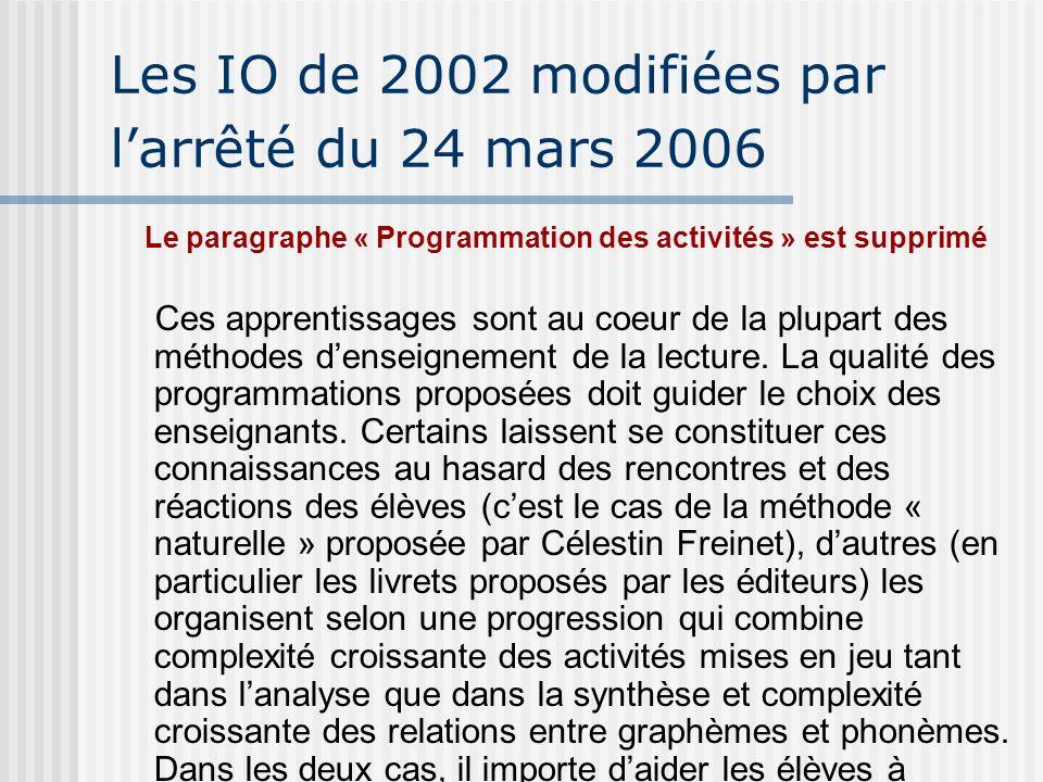 Les IO de 2002 modifiées par larrêté du 24 mars 2006 Le paragraphe « Programmation des activités » est supprimé Ces apprentissages sont au coeur de la