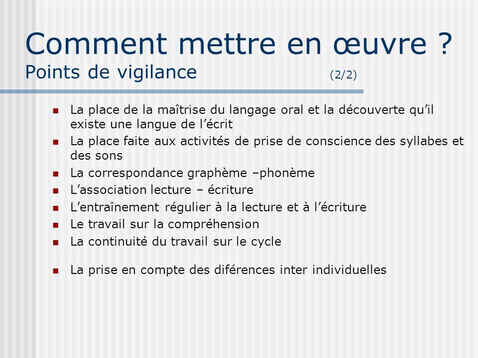 Comment mettre en œuvre ? Points de vigilance (2/2) La place de la maîtrise du langage oral et la découverte quil existe une langue de lécrit La place