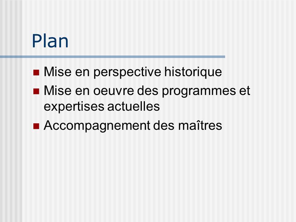 Plan Mise en perspective historique Mise en oeuvre des programmes et expertises actuelles Accompagnement des maîtres