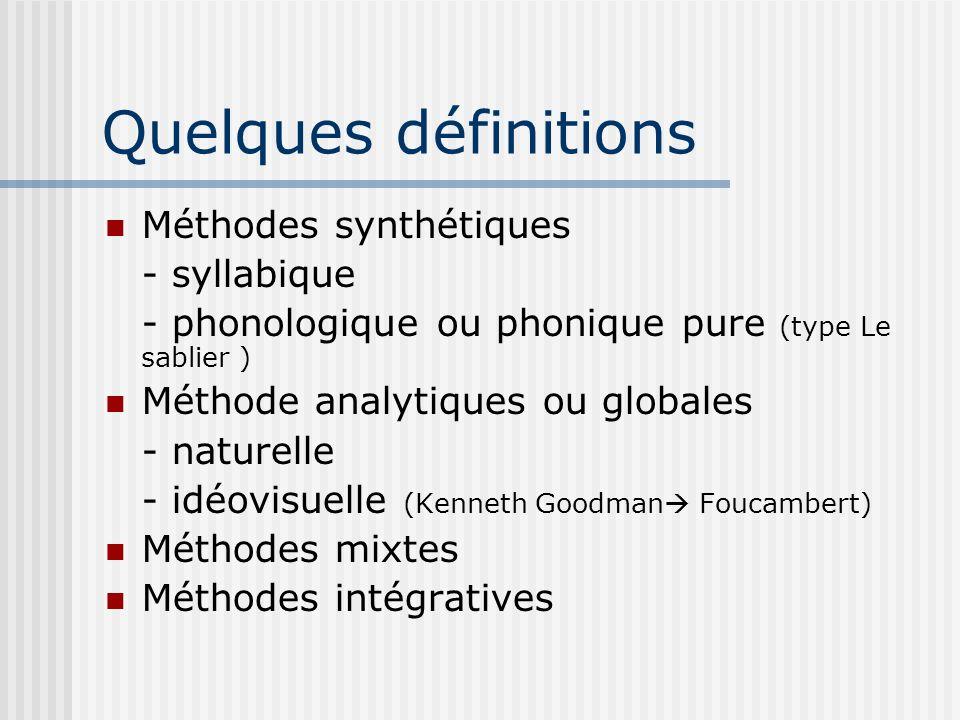 Quelques définitions Méthodes synthétiques - syllabique - phonologique ou phonique pure (type Le sablier ) Méthode analytiques ou globales - naturelle