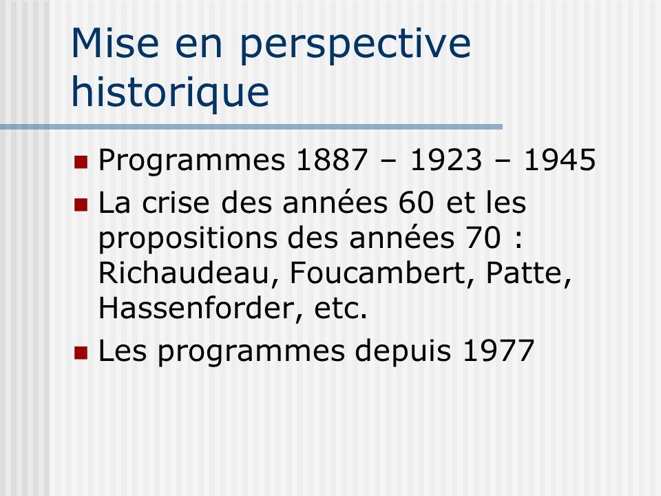 Mise en perspective historique Programmes 1887 – 1923 – 1945 La crise des années 60 et les propositions des années 70 : Richaudeau, Foucambert, Patte,