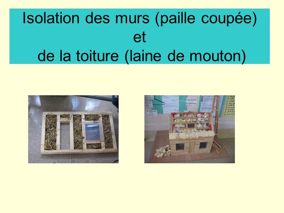 Isolation des murs (paille coupée) et de la toiture (laine de mouton)