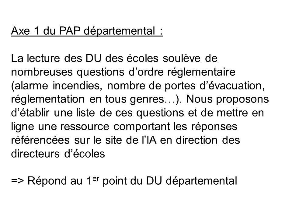 Axe 1 du PAP départemental : La lecture des DU des écoles soulève de nombreuses questions dordre réglementaire (alarme incendies, nombre de portes dévacuation, réglementation en tous genres…).