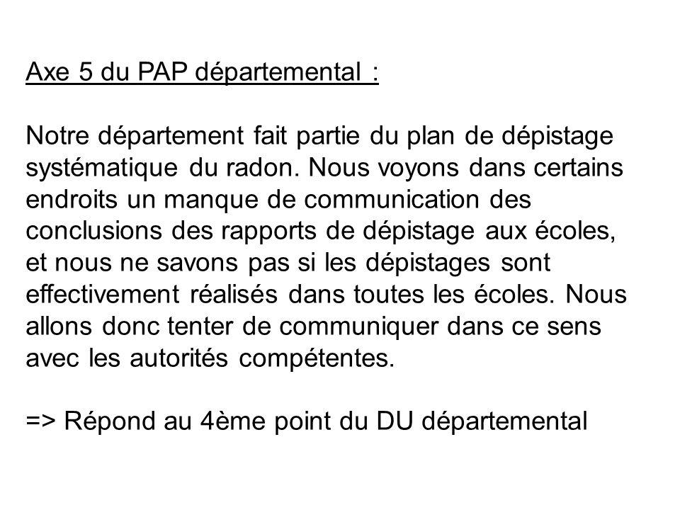 Axe 5 du PAP départemental : Notre département fait partie du plan de dépistage systématique du radon.
