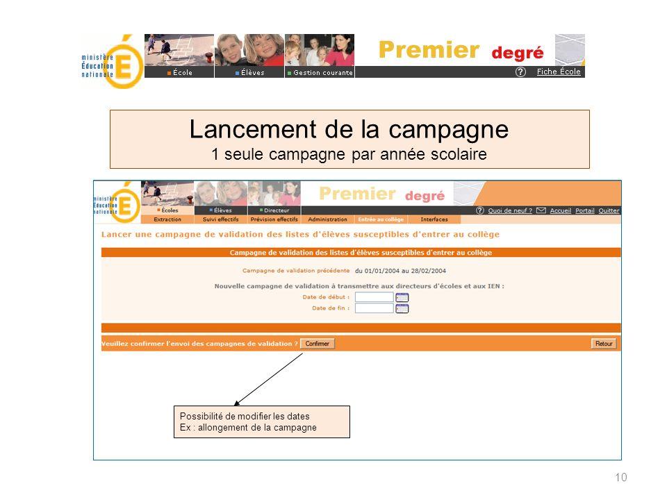 10 Possibilité de modifier les dates Ex : allongement de la campagne Lancement de la campagne 1 seule campagne par année scolaire