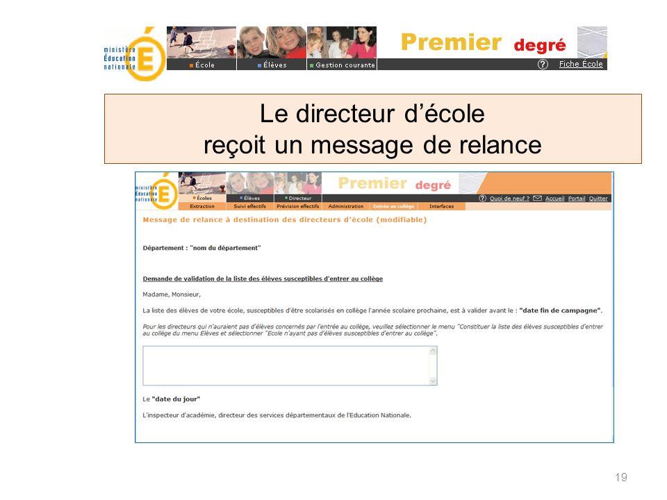 Le directeur décole reçoit un message de relance 19