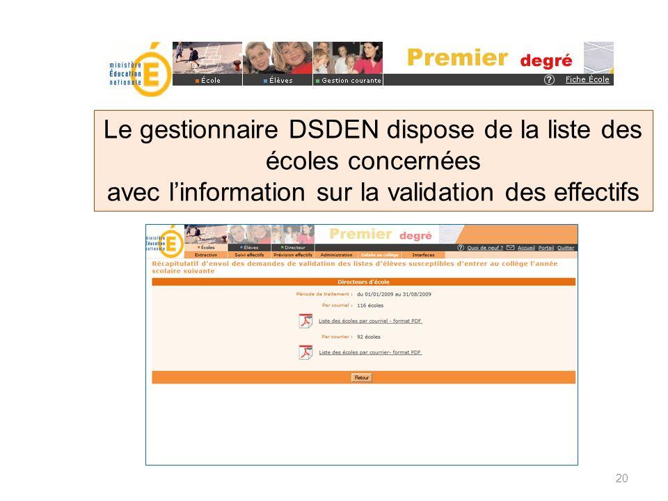 Le gestionnaire DSDEN dispose de la liste des écoles concernées avec linformation sur la validation des effectifs 20
