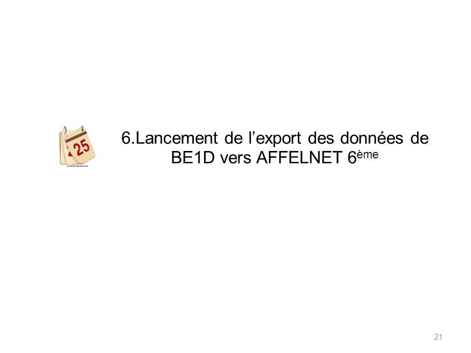 6.Lancement de lexport des données de BE1D vers AFFELNET 6 ème 21