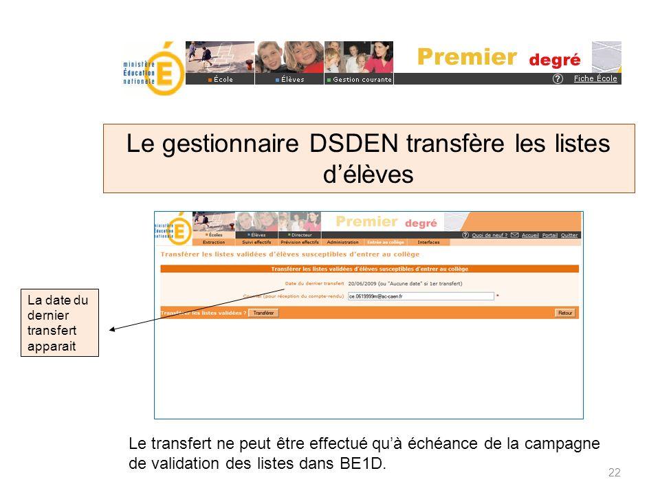La date du dernier transfert apparait Le gestionnaire DSDEN transfère les listes délèves 22 Le transfert ne peut être effectué quà échéance de la camp
