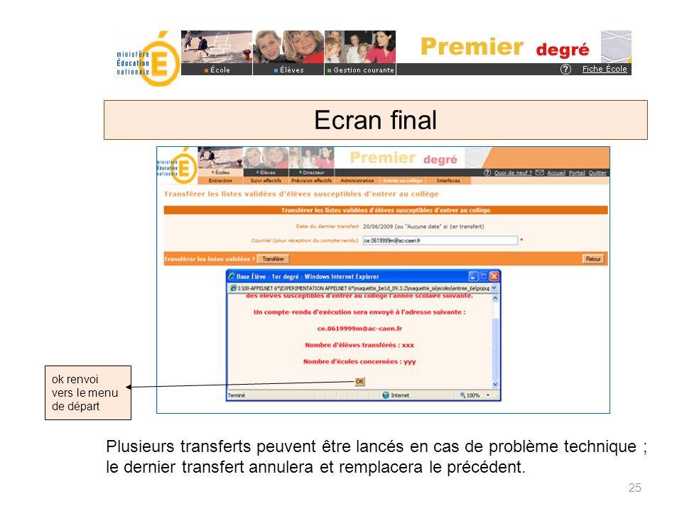 ok renvoi vers le menu de départ Ecran final 25 Plusieurs transferts peuvent être lancés en cas de problème technique ; le dernier transfert annulera