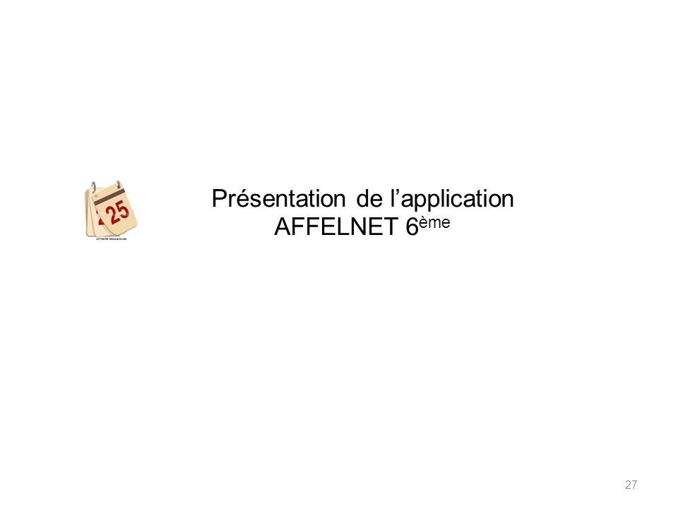 Présentation de lapplication AFFELNET 6 ème 27