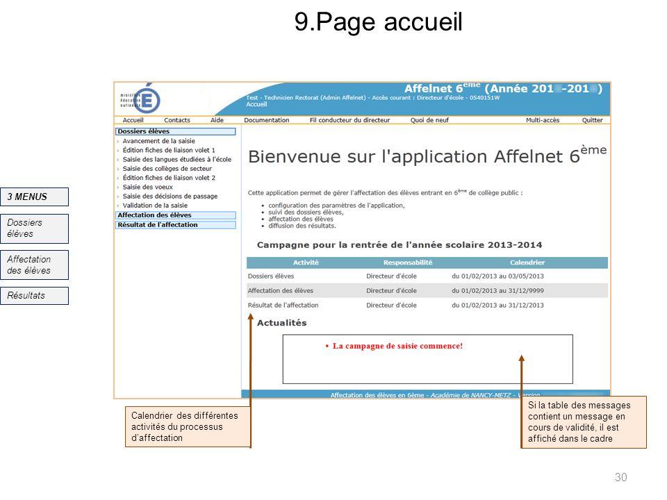 9.Page accueil 30 Si la table des messages contient un message en cours de validité, il est affiché dans le cadre Dossiers élèves Affectation des élèv