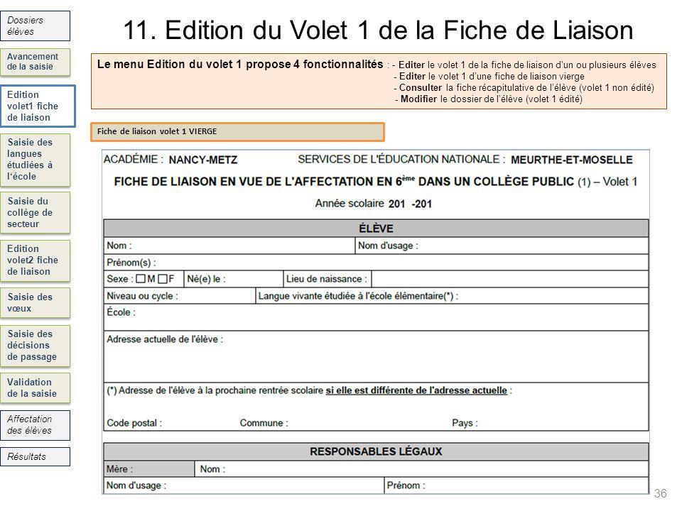 11. Edition du Volet 1 de la Fiche de Liaison 36 Saisie des langues étudiées à lécole Saisie du collège de secteur Edition volet2 fiche de liaison Sai