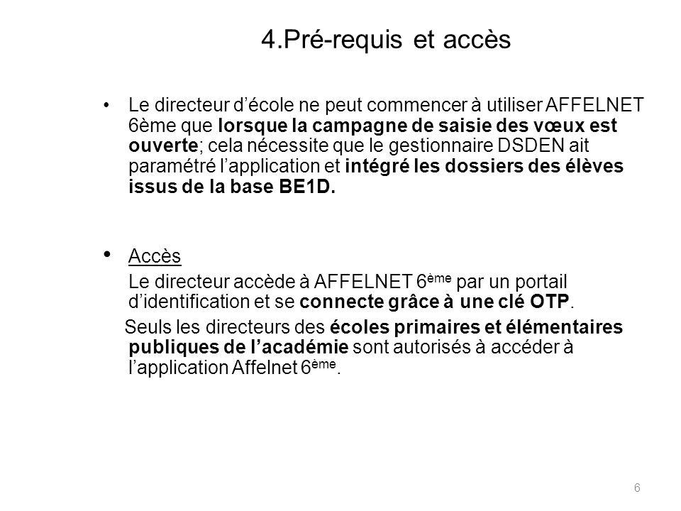 4.Pré-requis et accès Le directeur décole ne peut commencer à utiliser AFFELNET 6ème que lorsque la campagne de saisie des vœux est ouverte; cela néce