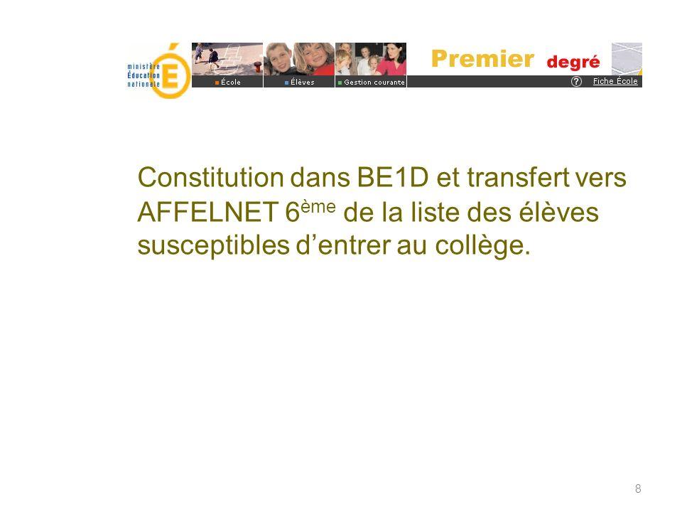 Constitution dans BE1D et transfert vers AFFELNET 6 ème de la liste des élèves susceptibles dentrer au collège. 8