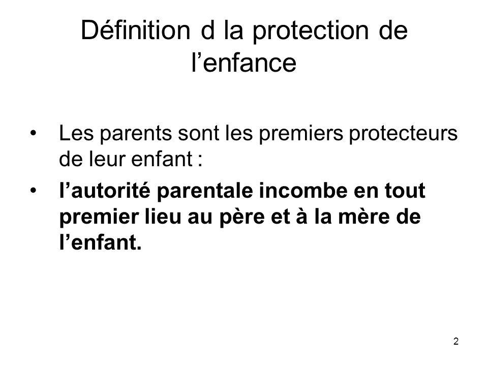2 Définition d la protection de lenfance Les parents sont les premiers protecteurs de leur enfant : lautorité parentale incombe en tout premier lieu a