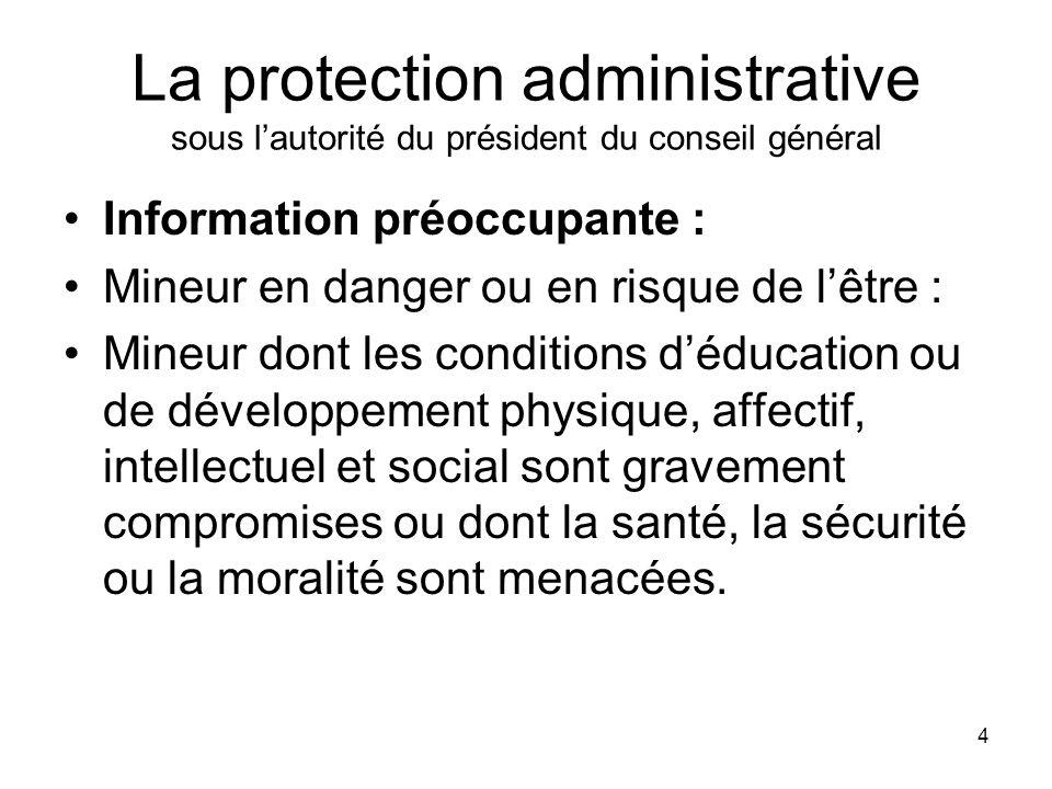 4 La protection administrative sous lautorité du président du conseil général Information préoccupante : Mineur en danger ou en risque de lêtre : Mine