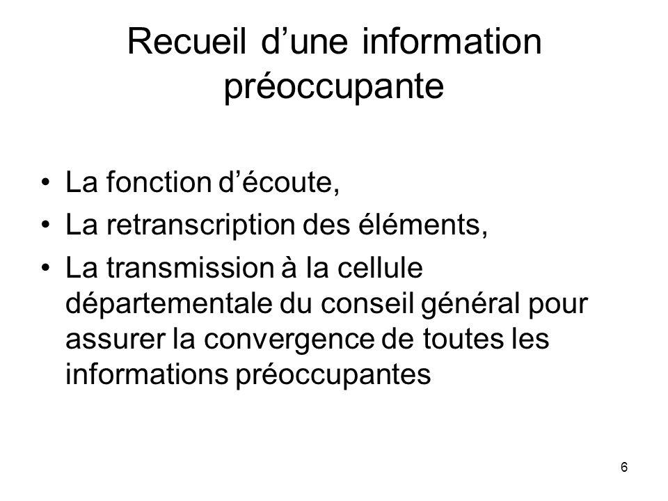 6 Recueil dune information préoccupante La fonction découte, La retranscription des éléments, La transmission à la cellule départementale du conseil g