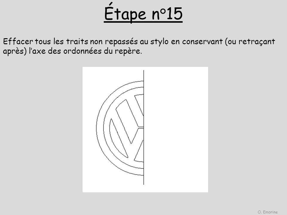 Étape n°15 Effacer tous les traits non repassés au stylo en conservant (ou retraçant après) laxe des ordonnées du repère. O. Emorine