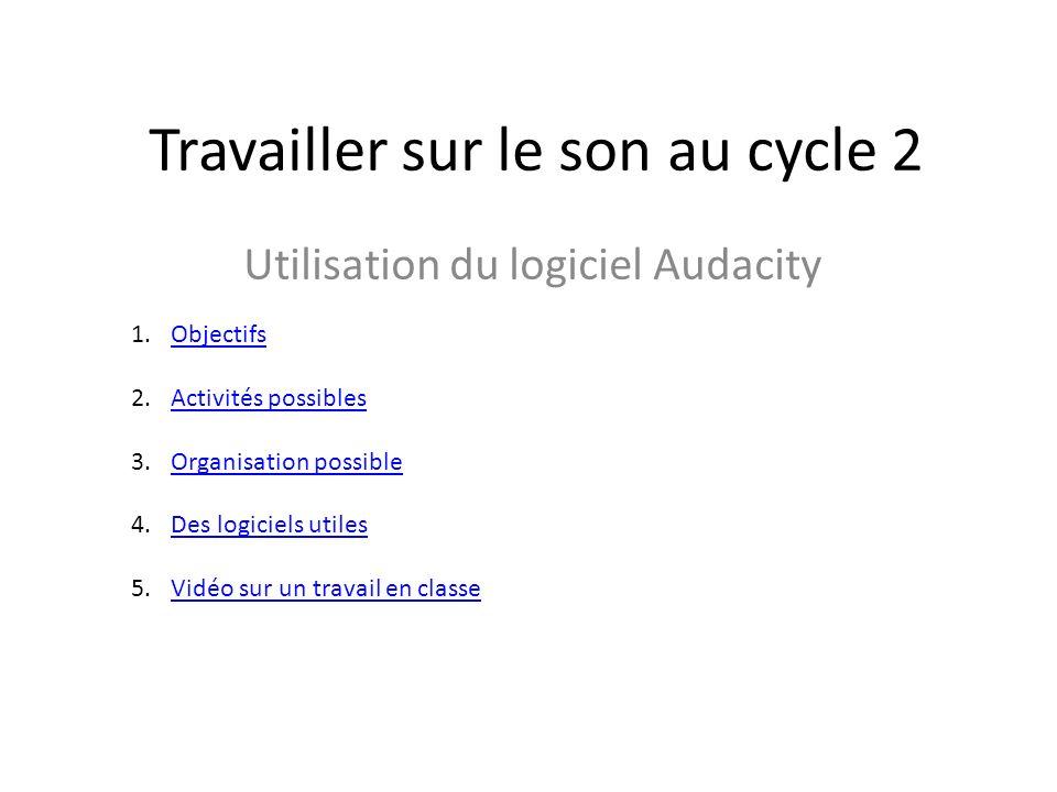 Travailler sur le son au cycle 2 Utilisation du logiciel Audacity 1.ObjectifsObjectifs 2.Activités possiblesActivités possibles 3.Organisation possibl