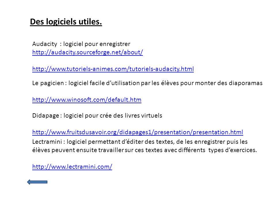 Des logiciels utiles. Audacity : logiciel pour enregistrer http://audacity.sourceforge.net/about/ http://www.tutoriels-animes.com/tutoriels-audacity.h