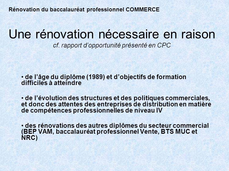 Une rénovation nécessaire en raison cf. rapport dopportunité présenté en CPC de lâge du diplôme (1989) et dobjectifs de formation difficiles à atteind