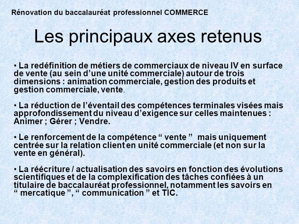 Les principaux axes retenus La redéfinition de métiers de commerciaux de niveau IV en surface de vente (au sein dune unité commerciale) autour de trois dimensions : animation commerciale, gestion des produits et gestion commerciale, vente.