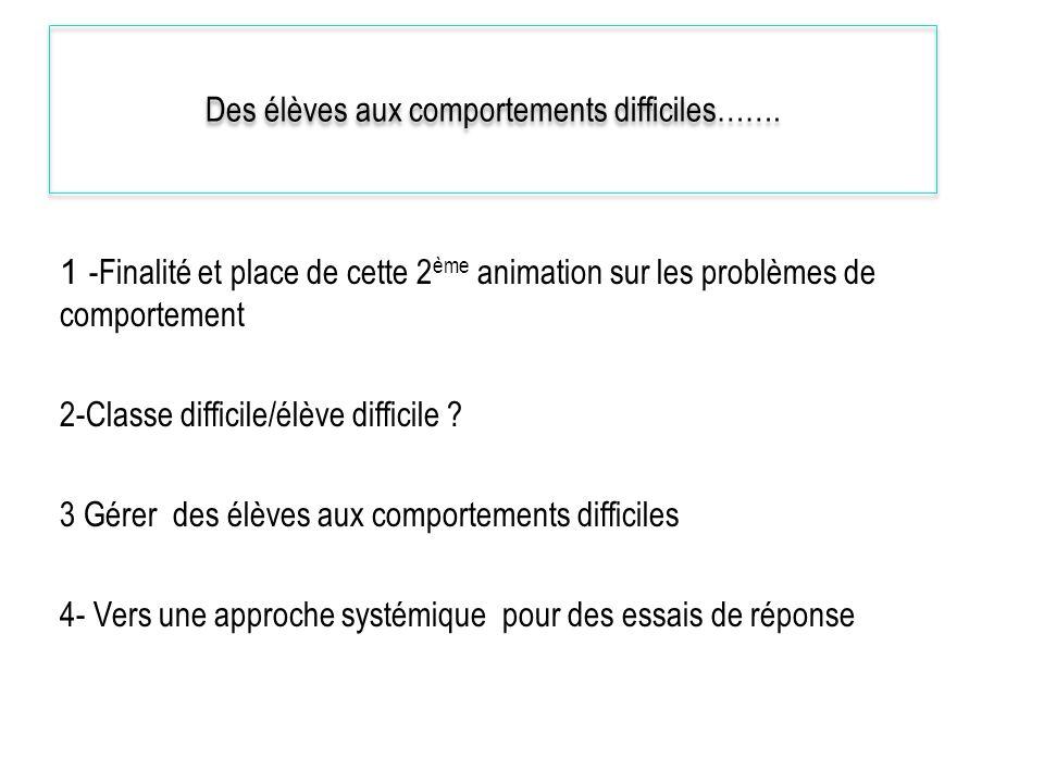 Des élèves aux comportements difficiles……. 1 -Finalité et place de cette 2 ème animation sur les problèmes de comportement 2-Classe difficile/élève di