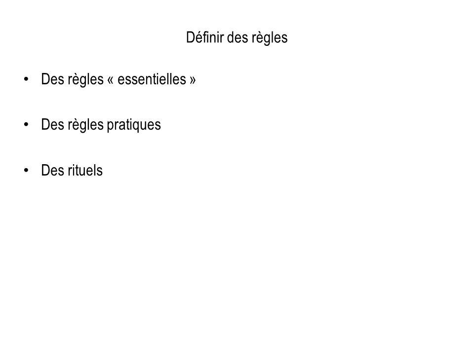 Définir des règles Des règles « essentielles » Des règles pratiques Des rituels