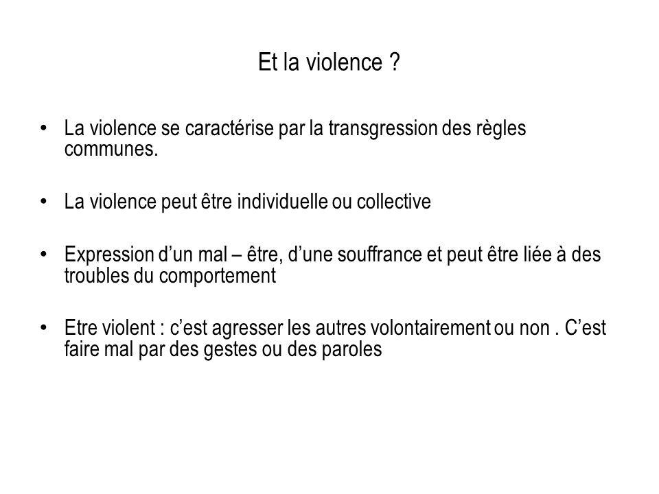 Et la violence ? La violence se caractérise par la transgression des règles communes. La violence peut être individuelle ou collective Expression dun