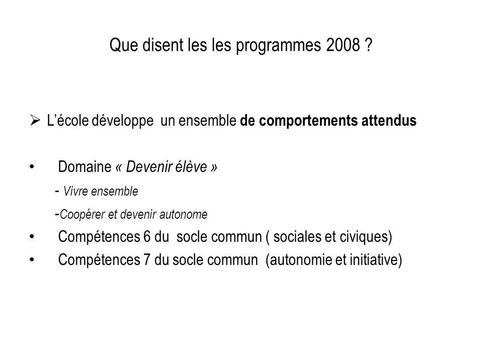 Que disent les les programmes 2008 ? Lécole développe un ensemble de comportements attendus Domaine « Devenir élève » - Vivre ensemble - Coopérer et d