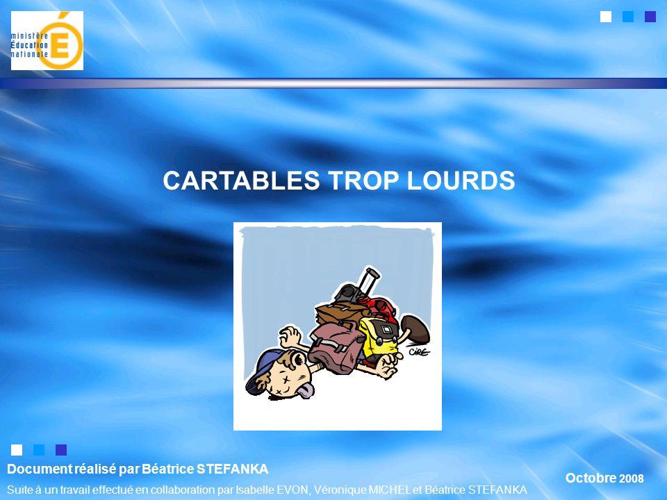 CARTABLES TROP LOURDS Octobre 2008 Document réalisé par Béatrice STEFANKA Suite à un travail effectué en collaboration par Isabelle EVON, Véronique MICHEL et Béatrice STEFANKA