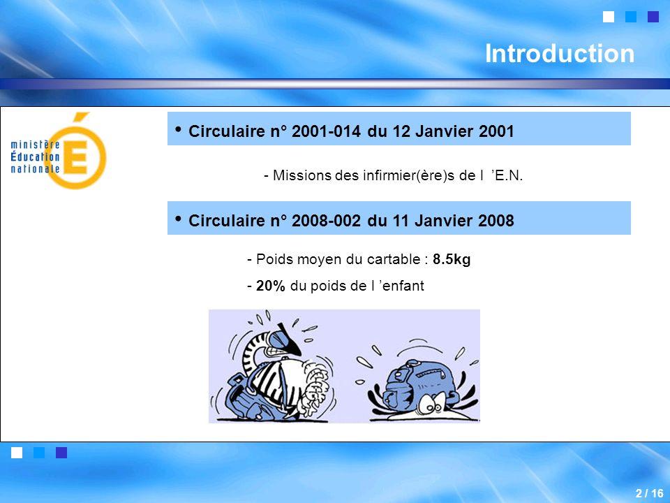 Introduction 2 / 16 Circulaire n° 2001-014 du 12 Janvier 2001 - Missions des infirmier(ère)s de l E.N.