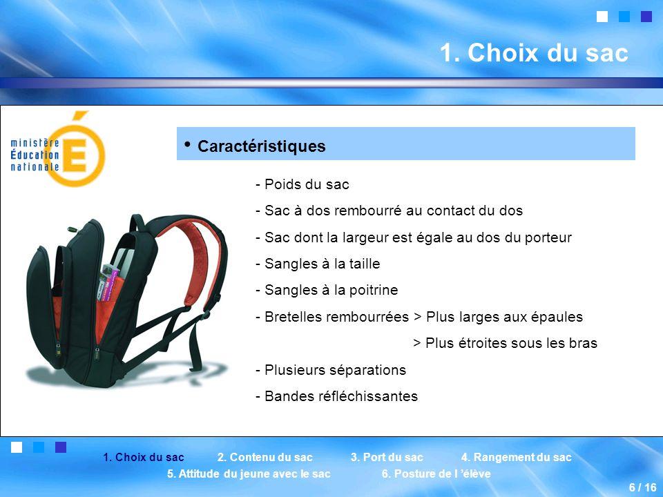 1. Choix du sac 2. Contenu du sac3. Port du sac4.