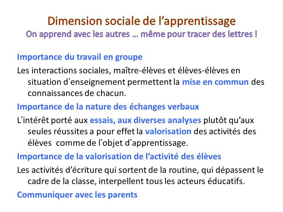Importance du travail en groupe Les interactions sociales, maître-élèves et élèves-élèves en situation denseignement permettent la mise en commun des